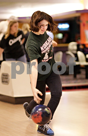 Beck Diefenbach  -  bdiefenbach@daily-chronicle.com<br /> <br /> DeKalb junior Brandi Underwood releases her ball during bowling practice at Mardi Gras Lanes in DeKalb, Ill., on Tuesday Feb. 9, 2010.