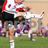 Beck Diefenbach  -  bdiefenbach@daily-chronicle.com<br /> <br /> Indian Creek's Matt Kyler (8) kicks the ball during the first half of the game against Paw Paw at Waterman middle School in Waterman, Ill., on Thursday Aug. 26, 2010. Indian Creek defeated Paw Paw 6 to 2.
