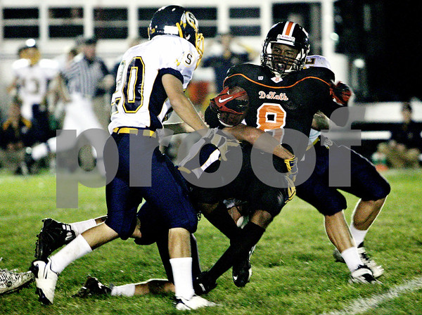 Rob Winner – rwinner@daily-chronicle.com<br /> <br /> Wide receiver Javon Scruggs is tackled after a reception in the frst quarter as the Barbs hosted Sterling in DeKalb, Ill. on Friday September 17, 2010.