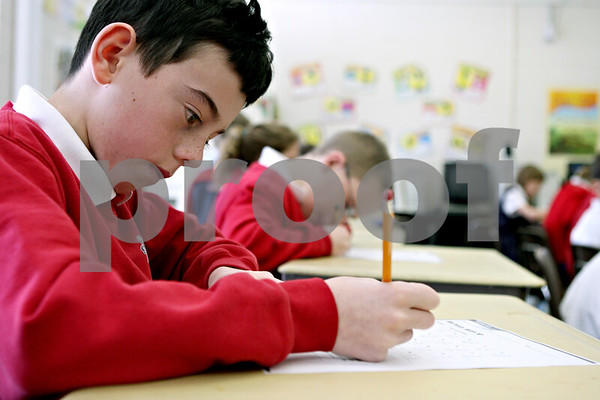 Rob Winner – rwinner@daily-chronicle.com<br /> Adam Tumminaro, 9, works on some multiplication problems at St. Mary Catholic School in DeKalb, Ill. on Tuesday January 12, 2010.