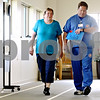 Rob Winner – rwinner@daily-chronicle.com<br /> <br /> Rose Cimaroli (left), of Somonauk, walks around an indoor track with Ken Schwiesow, RCP, CPFT at Kishwaukee Community Hospital in DeKalb, Ill. on Wednesday July 28, 2010. Cimaroli was diagnosed with chronic obstructive pulmonary disease, or COPD, about 10 years ago.