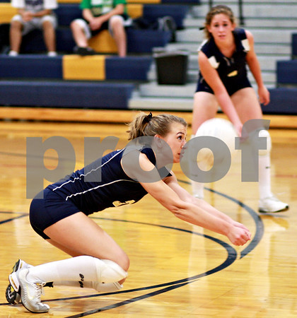 Beck Diefenbach – bdiefenbach@daily-chronicle.com<br /> <br /> Hiawatha's Sarah Schmidt (3) dives to return the ball during the second game of a match against Hinckley-Big Rock at Hiawatha High School in Kirkland, Ill., on Thursday  Sept. 16, 2010. H-BR defeated Hiawatha 2 to 0.