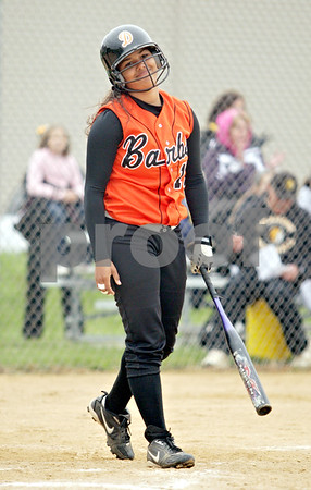 Beck Diefenbach  -  bdiefenbach@daily-chronicle.com<br /> <br /> DeKalb's Brittany Johnson (13) reacts after striking out during the second inning of the game against Sycamore at Sycamore High School in Sycamore, Ill., on Monday May 10, 2010.