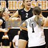 Rob Winner – rwinner@daily-chronicle.com<br /> <br /> Kaneland's Katy Dudzinski celebrates with her teammates after a kill in the first game in DeKalb, Ill. on Tuesday October 12, 2010. DeKalb went on to defeat Kaneland, 25-18 and 25-11.