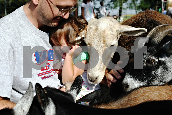 Rob Winner – rwinner@daily-chronicle.com<br /> <br /> Cortland resident Robert Peterson holds his daughter Mariana, 1, as a herd of goats and sheep rush toward them looking for some food at the petting zoo during Cortland Summer Fest in Cortland, Ill. on Saturday August 7, 2010.