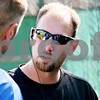 Rob Winner – rwinner@daily-chronicle.com<br /> <br /> DeKalb County Liners general manager Josh Pethoud (right) talks with one of his coaches before a game on Friday July 9, 2010 in Sycamore, Ill.