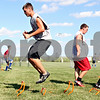 Rob Winner – rwinner@daily-chronicle.com<br /> <br /> Goalkeeper Justin Salazar of Hinckley-Big Rock jumps during a conditioning drill at practice on Monday August 17, 2010 in Hinckley, Ill.