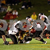 Beck Diefenbach  -  bdiefenbach@daily-chronicle.com<br /> <br /> Iowa State quarterback quarterback Austen Arnaud (4) is tackled by (from left to right) Northern Illinois' Alan Baxter (90), Mike Krause (58), Tracy Wilson (25) and Alex Kube (37) during the fourth quarter of the game at Jack Trice Stadium on the campus of Iowa State University in Ames, Iowa, on Thursday Sept. 2, 2010. Iowa State defeated Northern Illinois 27 to 10.