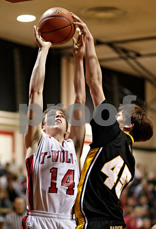 Beck Diefenbach  -  bdiefenbach@daily-chronicle.com<br /> <br /> Indian Creek's Josh Johnson (14, left) shoots the ball over Ashton-Franklin Center's Ryan Mairs (45) during the third quarter of the IHSA Class 1A Regional semi-final game at Indian Creek High School in Shabbona, Ill., on Wednesday Feb 24, 2010.