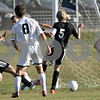 Rob Winner – rwinner@daily-chronicle.com<br /> <br /> Marco Ferrari (left) scores Sycamore's only goal during the first half of the IHSA Class 2A Sycamore Regional semifinal on Wednesday October 20, 2010 in Sycamore, Ill. Kaneland went on to defeat Sycamore, 2-1.