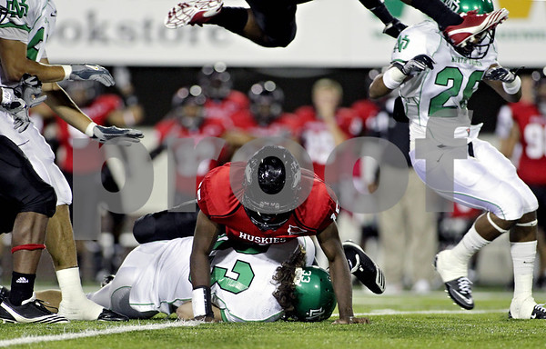 Rob Winner – rwinner@daily-chronicle.com<br /> <br /> Jimmie Ward, of Northern Illinois, smashes Erik Mersereau, of North Dakota, during a punt return in the third quarter in DeKalb, Ill. on Saturday September 11, 2010. Northern Illinois went on to defeat North Dakota, 23-17.