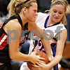 Beck Diefenbach – bdiefenbach@daily-chronicle.com<br /> <br /> Amboy Ashley Furguson (43, left) is attacked by Hinckley-Big Rock's Maxzine Rossler (right) during the second quarter of the IHSA Class 1A Regional Final game at Indian Creek High School in Shabbona, Ill., on Thursday Feb 11, 2010.