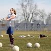 Rob Winner – rwinner@daily-chronicle.com<br /> Hinckley-Big Rock goalie Jessica Leifheit prepares to take to the field during practice on Tuesday March 16, 2010 in Hinckley, Ill.