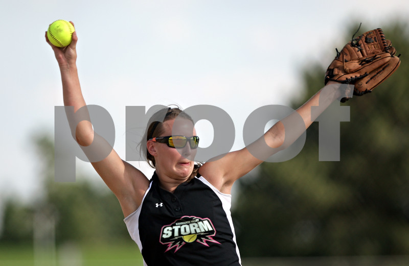 Beck Diefenbach  -  bdiefenbach@daily-chronicle.com<br /> <br /> Kishwuakee Valley Storm pitcher Alyssa Edler (0) winds up during the 18U game against the Downers Grove Rebels in the pool play portion of the Storm Dayz softball tournament at Sycamore Park in Sycamore, Ill., on Friday June 25, 2010.