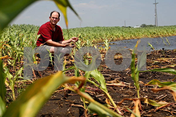 Beck Diefenbach  -  bdiefenbach@daily-chronicle.com<br /> <br /> Roy Plote poses with some of his underdeveloped corn as a result of the massive rain fall earlier in the season at his farm in Leland, Ill., on Monday July 5, 2010.