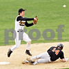 Beck Diefenbach  -  bdiefenbach@daily-chronicle.com<br /> <br /> Sycamore's Zack Spiewak (2, left) throws to first base for the double play during the second inning of the game against DeKalb at Sycamore Park in Sycamore, Ill., on Thursday April 8, 2010.