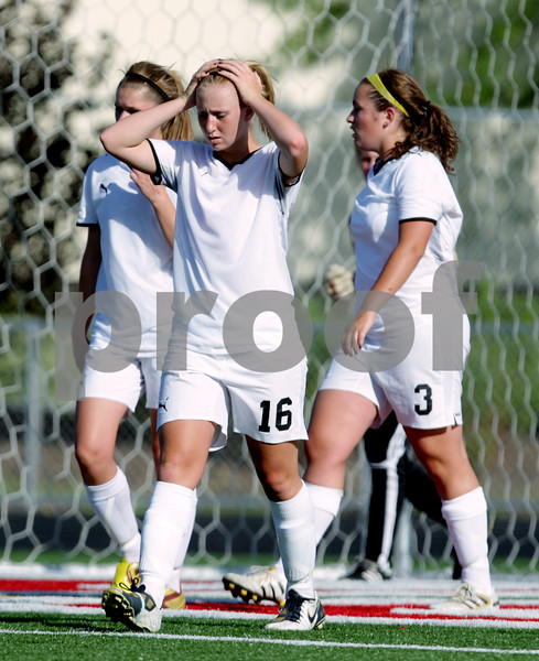 Rob Winner – rwinner@daily-chronicle.com<br /> <br /> Sycamore's Lindsey Hemmerich (16) and her teammates react after Saint Viator scored their first goal in the first half of the IHSA Class 2A Barrington Super-Sectional on Tuesday June 1, 2010 in Barrington, Ill. Saint Viator defeated Sycamore, 3-0.