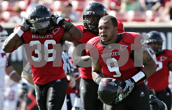 Rob Winner - rwinner@daily-chronicle.com<br /> <br /> Northern Illinois linebacker Devon Butler removes his helmet after sacking Temple quarterback Chester Stewart during the third quarter of their game in DeKalb, Ill. on Saturday October 9, 2010. Butler was flagged for removing his helmet allowing Temple a first down.