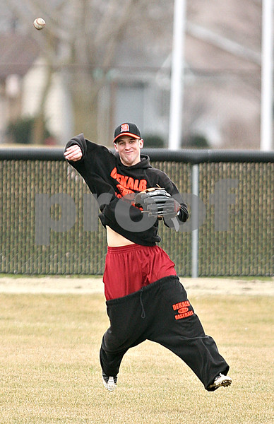 Beck Diefenbach  -  bdiefenbach@daily-chronicle.com<br /> <br /> DeKalb's Frank Petras throws the ball from center field during practice at DeKalb High School in DeKalb, Ill., on Monday March 15, 2010.