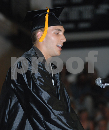 Kaneland graduate David Dudzinski makes a speech during commencement as one of 3 class of 2010 salutatorians on Sunday, May 30, 2010 in Maple Park, Ill. (Marcelle Bright/for the Chronicle)
