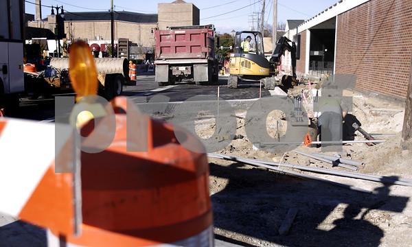 Kyle Bursaw - kbursaw@daily-chronicle.com<br /> <br /> The East Locust Street in DeKalb, Ill. under construction, pictured on Nov. 4, 2010.