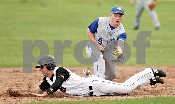 Beck Diefenbach  -  bdiefenbach@daily-chronicle.com<br /> <br /> DeKalb's Frank Petras (14, bottom) slides safe into second base under Geneva's Brian Cornick (9, top) during the fifth inning of the game at DeKalb High School in DeKalb, Ill., on Wednesday May 12, 2010. DeKalb defeated Geneva 4 to 3.