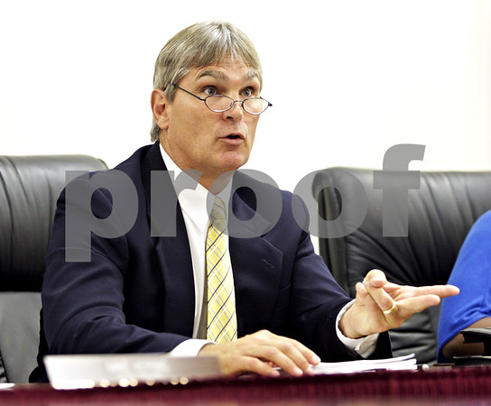 Beck Diefenbach  -  bdiefenbach@daily-chronicle.com<br /> <br /> DeKalb School Board superintendent James Briscoe discusses the test's findings during the DeKalb School Board meeting at the district's administrative offices in DeKalb, Ill., on Thursday July 29, 2010.