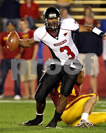 Beck Diefenbach  -  bdiefenbach@daily-chronicle.com<br /> <br /> Northern Illinois quarterback DeMarcus Grady is sacked by Iowa State defensive end Patrick Neal (91) during the fourth quarter of the game at Jack Trice Stadium on the campus of Iowa State University in Ames, Iowa, on Thursday Sept. 2, 2010. Iowa State defeated Northern Illinois 27 to 10.