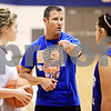 Beck Diefenbach  -  bdiefenbach@daily-chronicle.com<br /> <br /> Genoa-Kingston girls basketball head coach Matt Lauer (center) during practice at G-K High School in Genoa, Ill., on Monday Jan. 4, 2010.