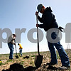 Rob Winner – rwinner@daily-chronicle.com<br /> <br /> Volunteers including James Bork (from front to back), Brian Hale and Tyler Bork, 15, all of Sycamore, help dig holes for the planting of native trees and shrubs at the Afton Forest Preserve in DeKalb, Ill. on Saturday April 17, 2010.