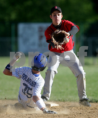 Beck Diefenbach  -  bdiefenbach@daily-chronicle.com<br /> <br /> Indian Creek's Josh Johnson (14, right) catches the ball as Hinckley-Big Rock's Cory Bradburn (35) slides in safe during the bottom of the fourth inning of the game in Big Rock, Ill., on Tuesday April 27, 2010. Indian Creek defeated H-BR 9 to 8.