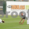 Beck Diefenbach  -  bdiefenbach@daily-chronicle.com<br /> <br /> DeKalb's Jake Gordon (right) searches for the ball after colliding with Brian Sisler (left) during the first inning of the IHSA Class 3A State Semifinal Game against Marian  Central in Joliet, Ill., on Friday June 11, 2010.