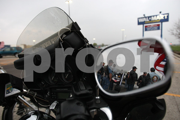 Rob Winner – rwinner@daily-chronicle.com<br /> <br /> Members of the Warriors'  Watch Riders gather at the Wal-Mart in Plano, Ill. before welcoming home USMC Corporal Kyle LeJeune, of Sandwich, on Saturday April 24, 2010.