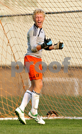 Beck Diefenbach - bdiefenbach@daily-chronicle.com<br /> <br /> DeKalb goal keeper Cully Hicks reacts after Hononegah missed a penalty kick during the second half of the game at DeKalb High School in DeKalb, Ill., on Tuesday Aug. 24, 2010. DeKalb and Hononegah tied 1 to 1.