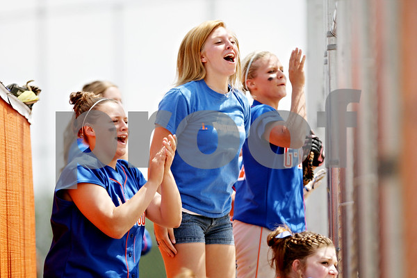 Rob Winner – rwinner@daily-chronicle.com<br /> <br /> The Genoa-Kingston bench cheers on Elizabeth Brown after she reached first base in the fifth inning during the IHSA Class 2A Byron Regional final against Stillman Valley in Byron, Ill. on Saturday May 22, 2010. Stillman Valley went on to defeat Genoa-Kingston, 5-2, ending their season.