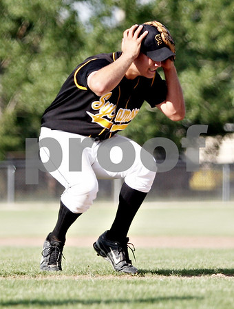 Rob Winner – rwinner@daily-chronicle.com<br /> <br /> Sycamore pitcher Nathan Harbecke reacts after an error allows DeKalb to tie the game in the sixth inning during the IHSA Class 3A DeKalb Sectional semifinal on Wednesday June 2, 2010 in DeKalb, Ill.