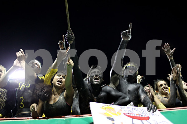 Beck Diefenbach – bdiefenbach@daily-chronicle.com<br /> <br /> Sycamore fans cheer after their team won the Castle Challenge football game between DeKalb and Sycamore High Schools at Huskie Stadium on the campus of Northern Illinois University in DeKalb, Ill., on Friday Sept. 10 2010.