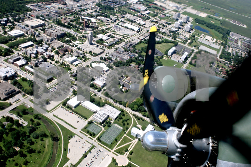 Rob Winner – rwinner@daily-chronicle.com<br /> <br /> A view of the Northern Illinois University campus in DeKalb, Ill. from the nose of Sentimental Journey, a B-17 Flying Fortress, on Monday August 16, 2010.