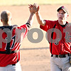 Beck Diefenbach  -  bdiefenbach@daily-chronicle.com<br /> <br /> Indian Creek's Steven Voris (8, right) is congratulated by catcher Reece Bend (11) after defeating Hinckley-Big Rock 9 to 8 in Big Rock, Ill., on Tuesday April 27, 2010.