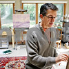 Rob Winner – rwinner@daily-chronicle.com<br /> <br /> Gerard Erley works on an oil painting at his home in DeKalb, Ill. on Tuesday October 5, 2010. Erley donates his artwork to area charities.