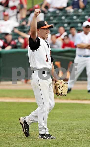 Beck Diefenbach  -  bdiefenbach@daily-chronicle.com<br /> <br /> DeKalb pitcher Jake Lemay reacts after DeKalb wins the IHSA Class 3A State Semifinal Game against Marian Central in Joliet, Ill., on Friday June 11, 2010.