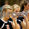 Beck Diefenbach  -  bdiefenbach@daily-chronicle.com<br /> <br /> DeKalb's Baleigh Euhus (2, left) and Mackenzie Johnson (14, center) return to their bench for a time out following a rally by Geneva during the second game of a match at DeKalb High School in DeKalb, Ill., on Thursday Sept. 9, 2010. Geneva defeated DeKalb 2 to 0.