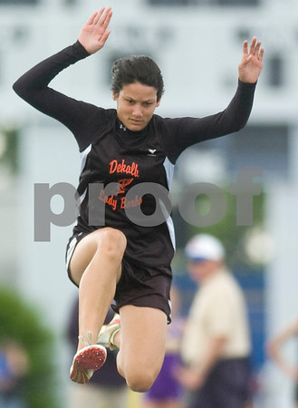 DeKalb's Jasmine Brown triple jumps Friday at the Class 2A State Track Meet in Charleston.