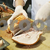 Rob Winner – rwinner@daily-chronicle.com<br /> <br /> Gavin Wilson, owner and executive chef of the Hillside Restaurant in downtown DeKalb, carves a turkey on Monday afternoon.