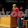 "Beck Diefenbach – bdiefenbach@daily-chronicle.com<br /> <br /> Haley Tyrrell feels her way around set pieces before rehearsal begins for The Penguin Project's production of ""Annie Jr."" at Sycamore High School in Sycamore, Ill., on Tuesday Sept. 14, 2010. Tyrrell, who is blind, plays the role of Miss Hannigan."