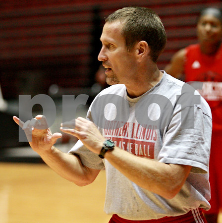 Beck Diefenbach – bdiefenbach@daily-chronicle.com<br /> <br /> Northern Illinois assistant coach Joe Conroy during the team's first practice of the season at NIU's Convocation Center in DeKalb, Ill., on Monday Oct. 4, 2010.