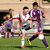 Beck Diefenbach  -  bdiefenbach@daily-chronicle.com<br /> <br /> Indian Creek's Clayton Peterson (12, left) controls the ball during the first half of the game at Waterman middle School in Waterman, Ill., on Thursday Aug. 26, 2010. Indian Creek defeated Paw Paw 6 to 2.