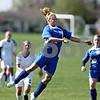 Rob Winner – rwinner@daily-chronicle.com<br /> <br /> Hinckley-Big Rock's Maxzine Rossler uses her head to control a ball during the second half of their game against Sycamore on Saturday April 17, 2010 in DeKalb, Ill. for Barbfest.