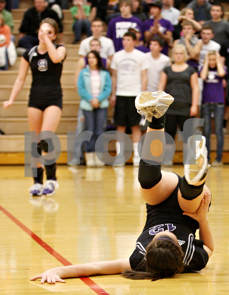 Rob Winner – rwinner@daily-chronicle.com<br /> <br /> Hampshire's Kelly Meathe is unable to get to a ball during the first game against Kaneland in Maple Park, Ill. on Thursday October 28, 2010. Hampshire went on to defeat Kaneland in three games.
