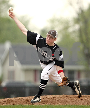Beck Diefenbach  -  bdiefenbach@daily-chronicle.com<br /> <br /> Kaneland pitcher Steve Colombe (21) releases the ball during the first inning of the game against DeKalb at DeKalb High School in Dekalb, Ill., on Thursday May 20, 2010.